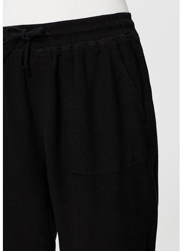 Mavi Bağcıklı Keten Pantolon Siyah